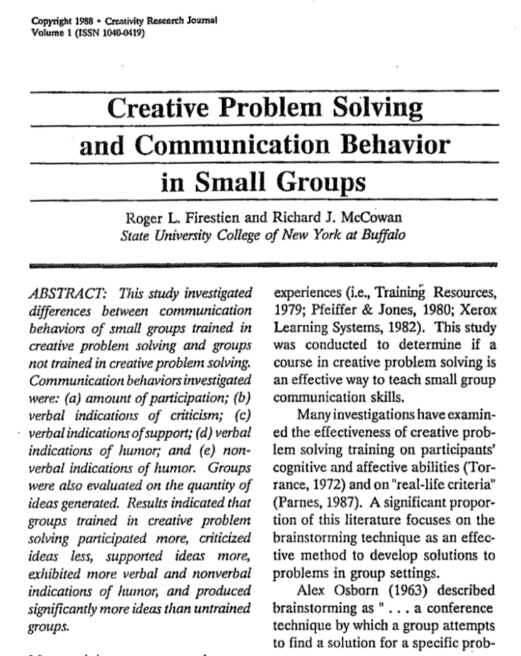 Creative problem-solving and communication behavior in small groups