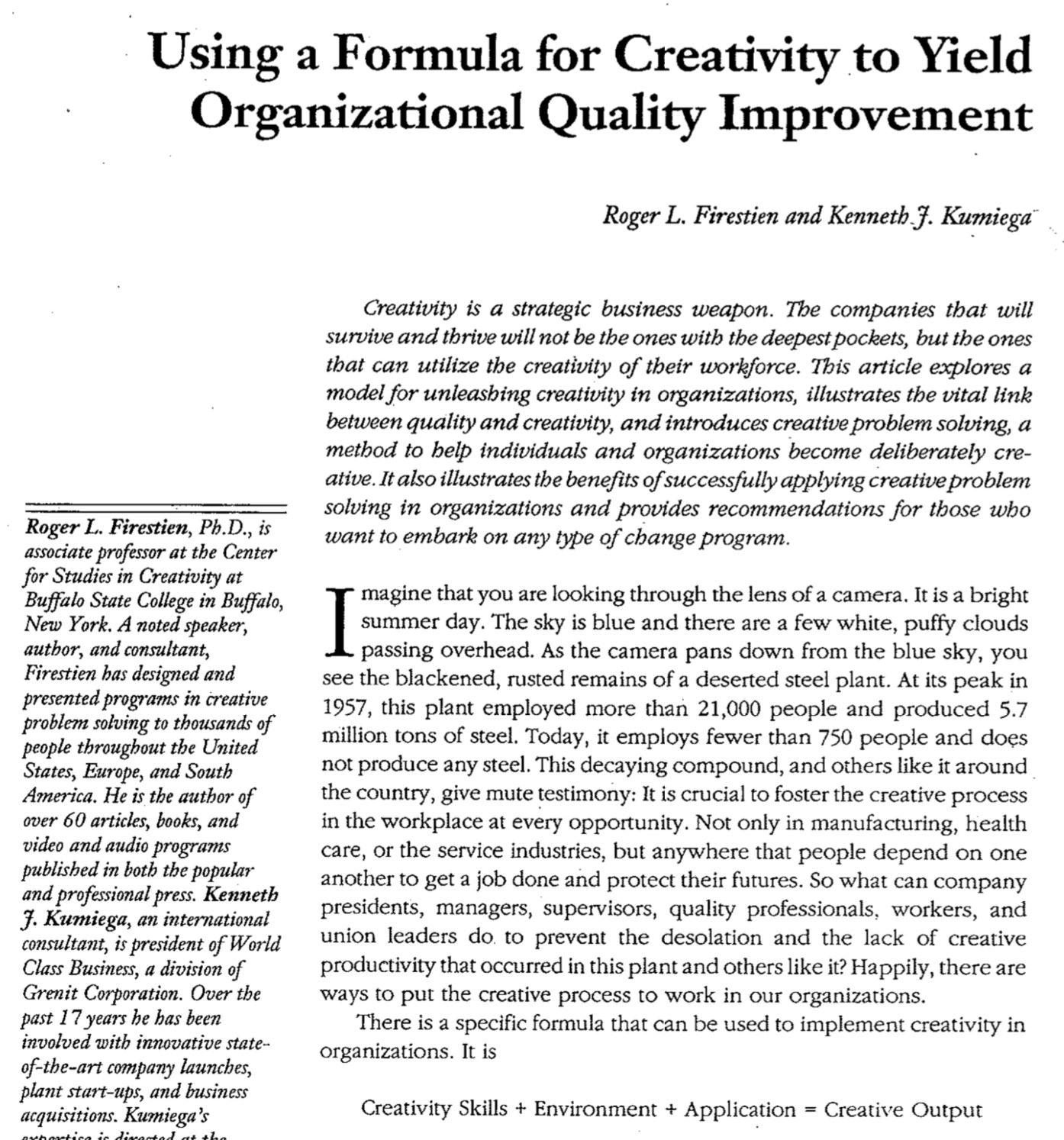 Using a Formula for Creativity to Yield Organizational Quality Improvement