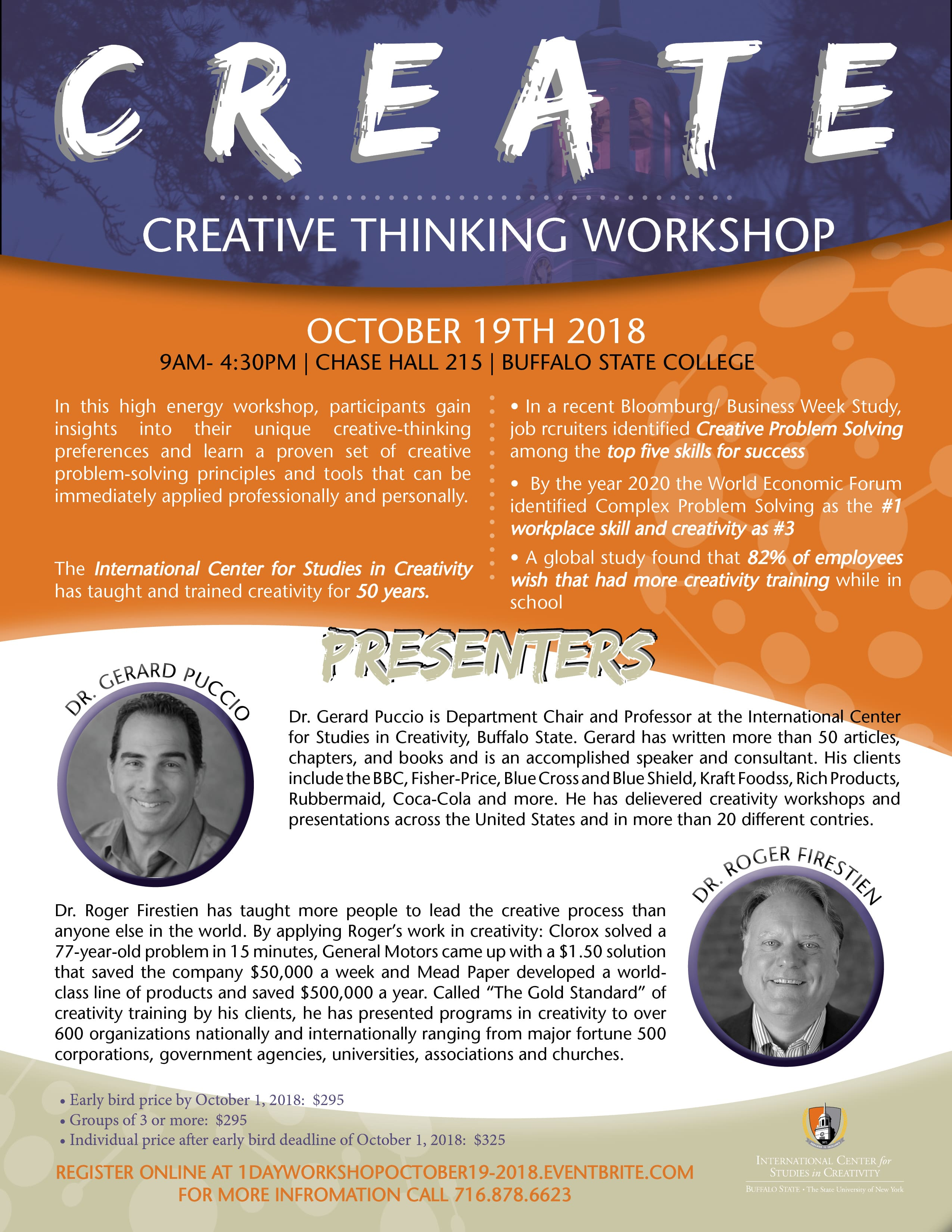 Creative Thinking Workshop with Dr. Roger Firestien and Dr.Gerard Puccio – October 19